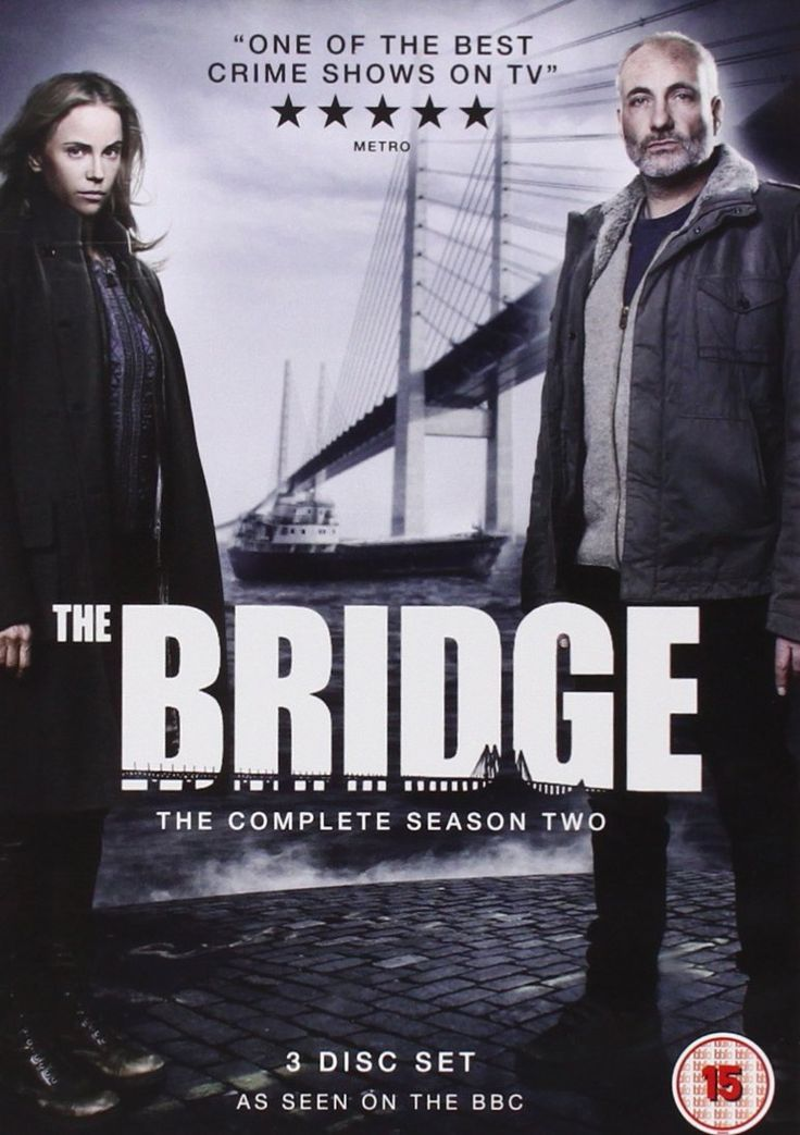 """The Bridge: Series 2 (2013) starring Sofia Helin, Kim Bodnia, Dag Malmberg and Magnus Krepper. """"When a body is found on the bridge between Denmark and Sweden, right on the border, Danish inspector Martin Rohde and Swedish Saga Norén have share jurisdiction and work together to find the killer."""""""