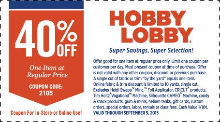 Pinned August 31st: 40% off a single item at Hobby #Lobby or online via promo code 2105 #coupon via The #Coupons App