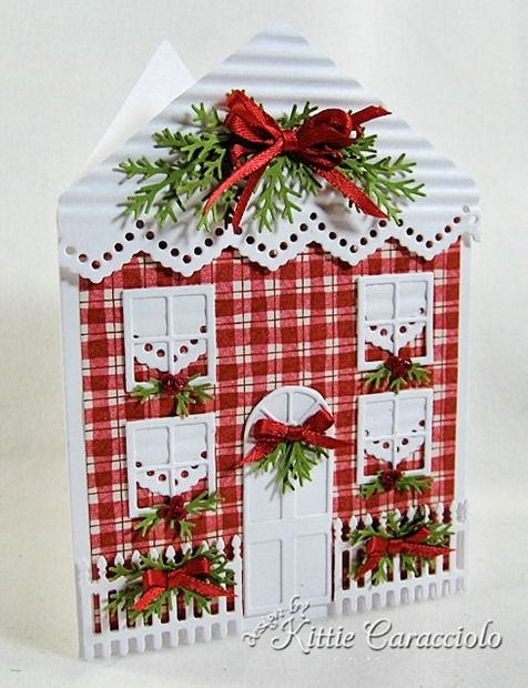 Card by Kittie Caracciolo (110213) [(dies) Impression Obsession Border Duo 2, Door & Window, Fence Border, House; (punch) Martha Stewart Branch]