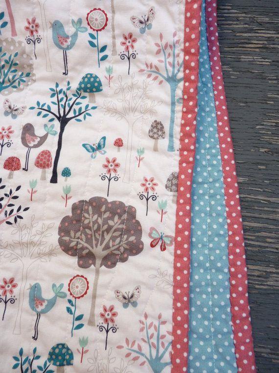 Handmade/Coral/teal/bird/modern/crib/toddler/quilt on Etsy, $100.00 CAD