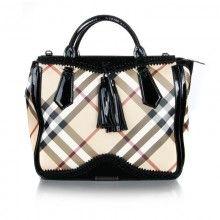 Knockoff Designer Fashion Burberry Luxury 1:1 Grade Canvas Nova Check Tote Bag with Black Genuine Calfskin Leather Trim