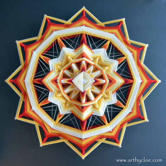 ojo de dios, a mandala woven from yarn. Decorative art piece for the wall