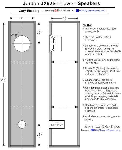 Enclosure Plan - Jordan JX92S Tower Speaker