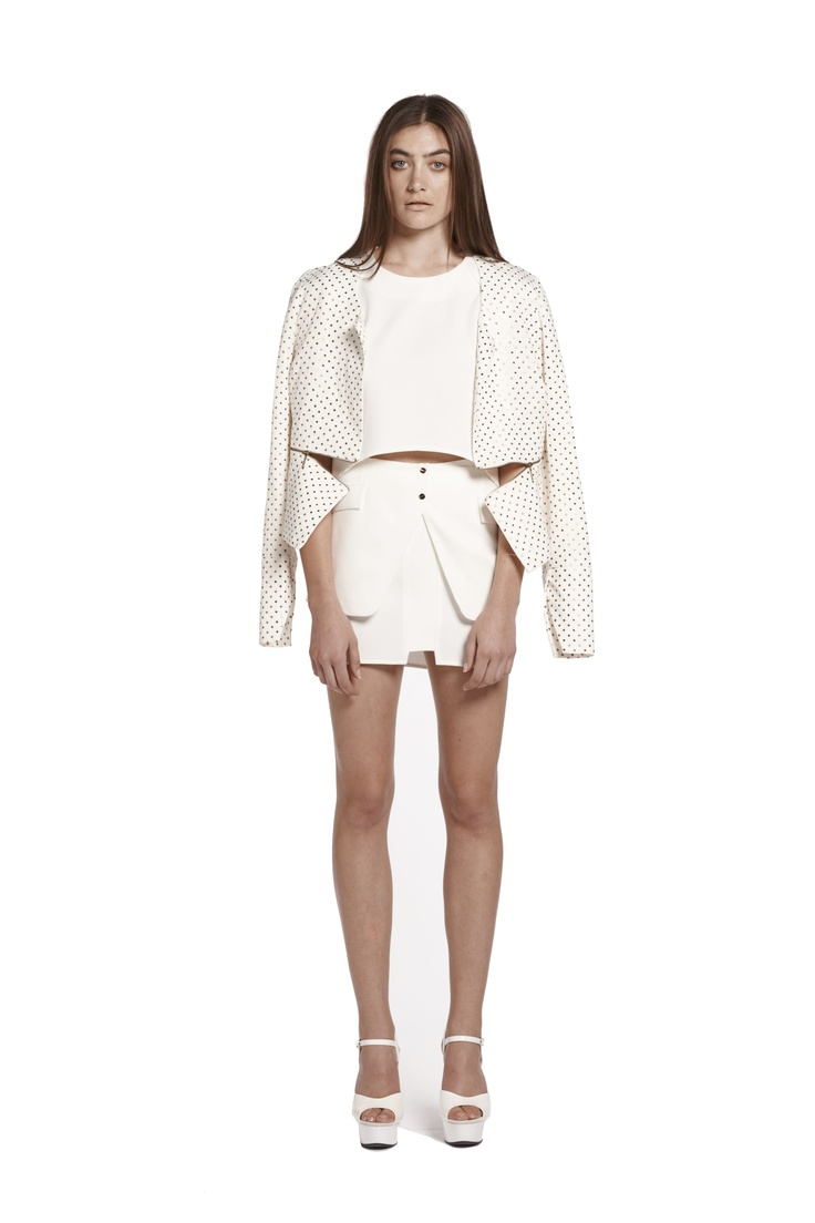 state of purity jacket & right of passage crop top & right of passage mini skirt