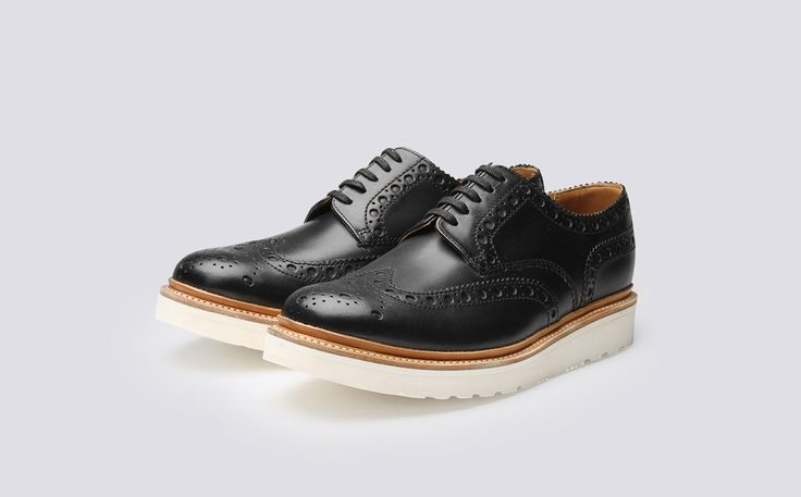 Mens Gibson Brogue in Black Leather with a White Wedge Sole | Archie | Grenson Shoes - Three Quarter View