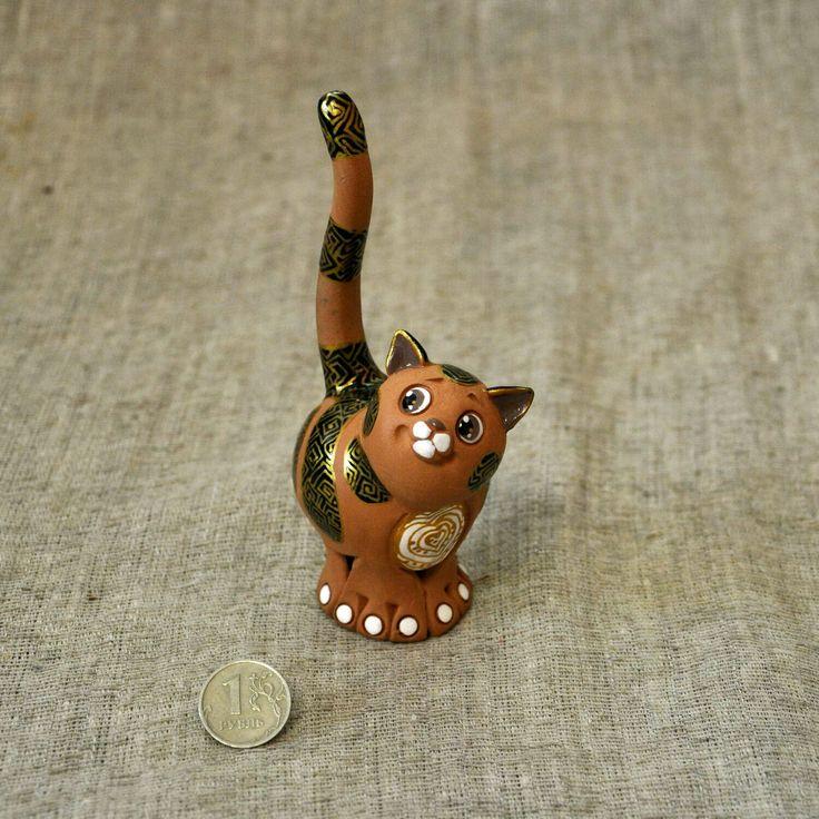 Купить Кот - бубенец, ночной сторож колец. - керамика ручной работы, кот керамический, кот