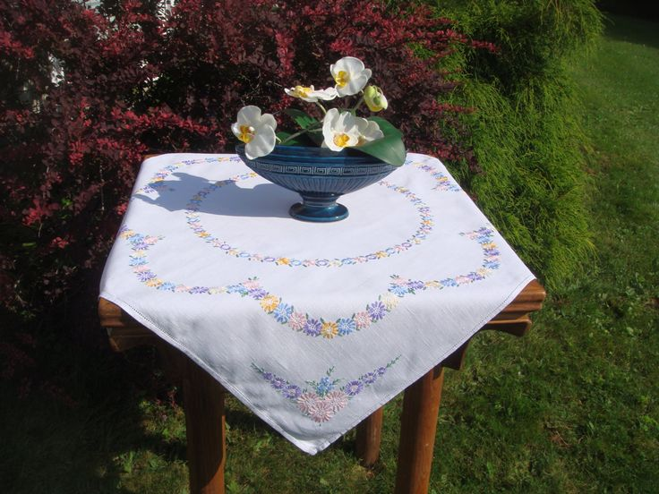 Vintage Square, Hand Embroidered Tablecloth, White Linen, Vintage Embroidery…