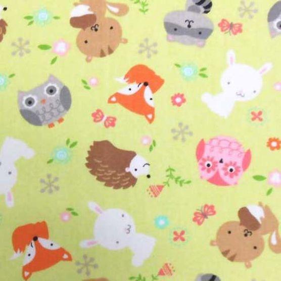 Nursery Fabric- Forest Animals Green