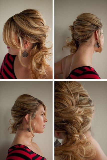 messy twist and pin side ponytail  #