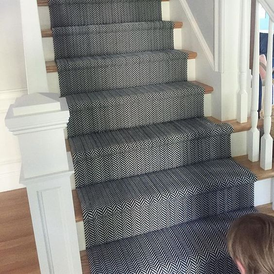 Dash And Albert. Clients New Stair Runner, Can Never Go Wrong With Navy  Herringbone