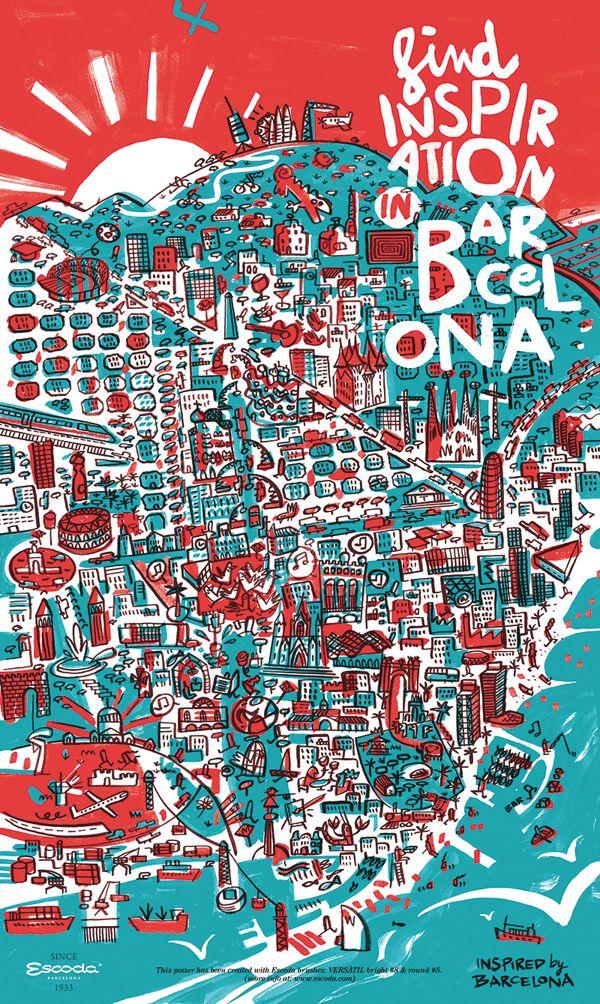 Mapa Ilustrado. Ejemplo de Ilustracion aplicada. Barcelona map brush poster by Iván Bravo, via Behance
