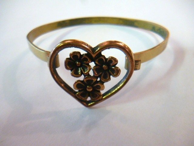Jorma Laine for Turun Hopea, Vintage floral heart bronze Bracelet, 1970's. #Finland