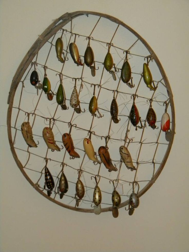 ways to display antique fishing tackle/lures...kid's camping bedroom theme