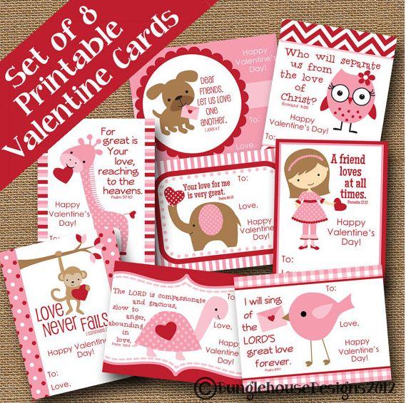 Kids Valentines DIY PRINTABLE Christian Scripture Bible Verse Valentine Cards