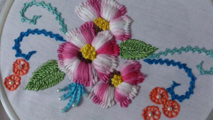 Hand Embroidery designs. Puffed flower stitch.