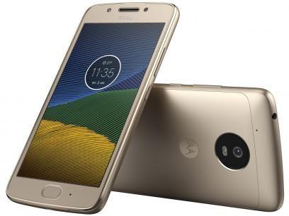 """Smartphone Moto G5 32GB Ouro Dual Chip 4G - Câm. 13MP + Selfie 5MP Tela 5"""" Octa Core Desbl. com as melhores condições você encontra no Magazine Jsantos. Confira!"""