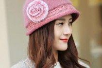 cappello della benna dolce fiore per le donne di coniglio miscela pelliccia cappelli invernali