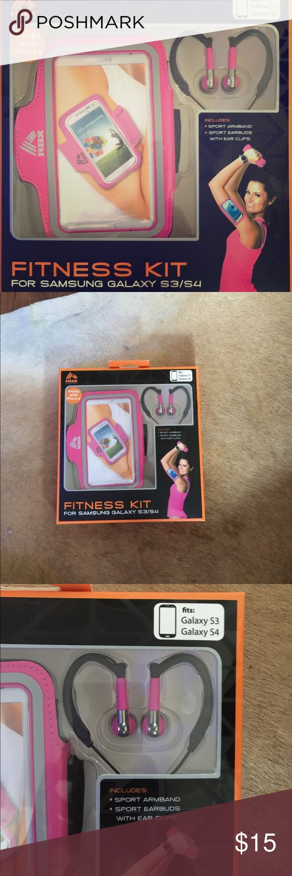 Fitness kit👟🎉🏋🏼 New fitness kit includes in pink sports arm band, ear buds with ear clip to keep them in place while you workout. 🎉🏋🏼👍🏻 Fits iPhone 6, Galaxy S3 & Galaxy S4.👍🏻 Check out my other listings for more great items.😉💕 Bundle and save in shipping, plus get an additional discount!!!💰💕😝 RXB Accessories Phone Cases