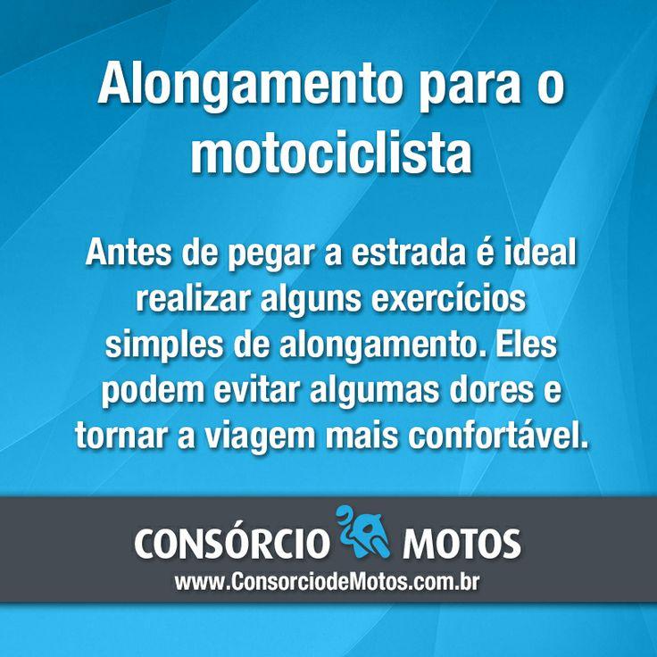 #DicasParaMotos  Boa tarde! Confira algumas dicas simples para prevenir dores musculares depois de percorrer longas distâncias em uma moto. Acesse: https://www.consorciodemotos.com.br/noticias/a-importancia-do-alongamento-antes-de-viajar-de-moto?idcampanha=288&utm_source=Pinterest&utm_medium=Perfil&utm_campaign=redessociais