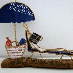 Femme au parasol - figurine en ficelle et papier