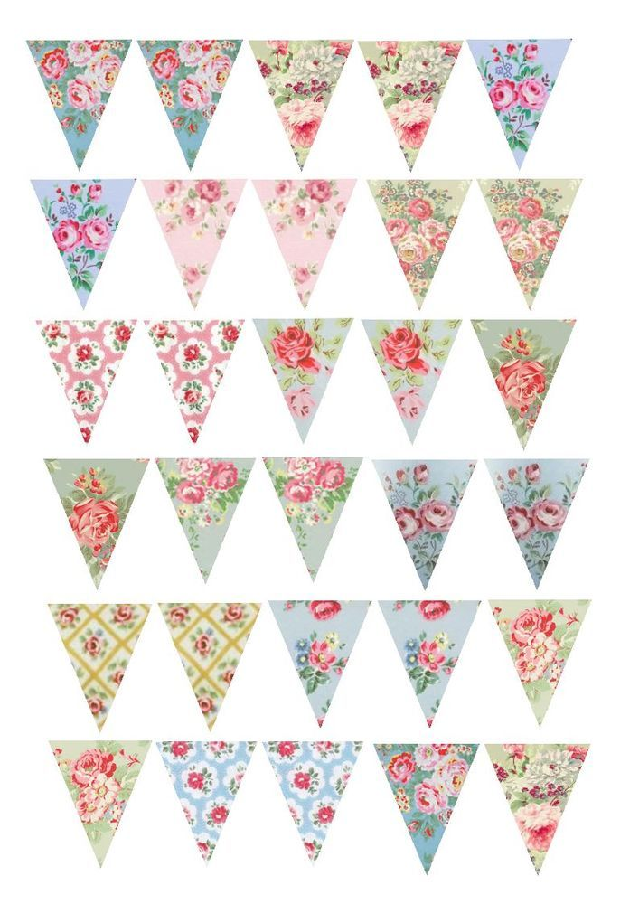 30 Vintage Shabby Chic Floral Rose Bunting Cake/Cupcake Rice Paper Toppers