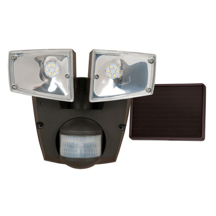 Shop Utilitech Pro 180-Degree 2-Head Black Solar Powered