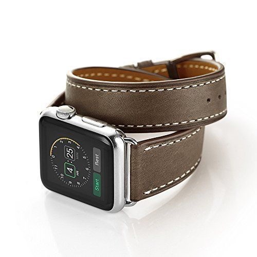 Apple Watch Band Genuine Leather Double Tour Bracelet iWatch 38mm Coffee NEW #WatchBand