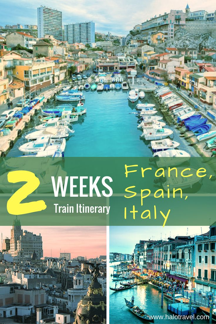 14 to 18 day Southern Europe rail tour. Travel to: Madrid, Barcelona, Marseille, overnight stop in Montpellier, Nice, Venice, Rome.