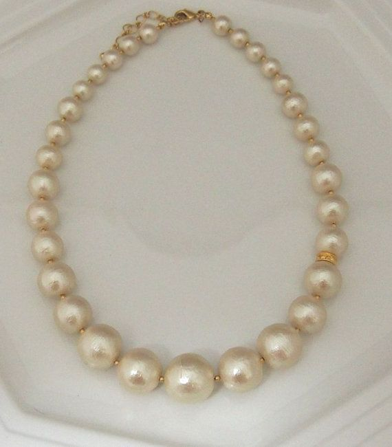 Classy Gradation Cotton Pearl Necklace Light Beige by MiyabiGrace, $78.00