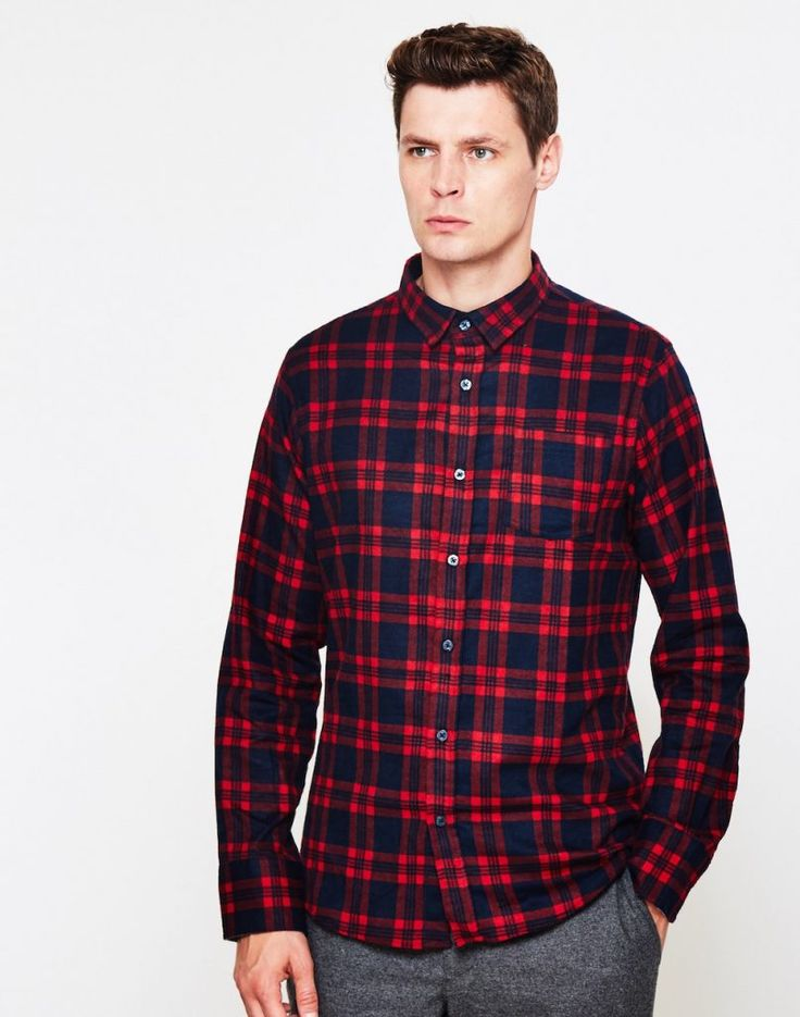 The Idle Man Red Check Shirt men