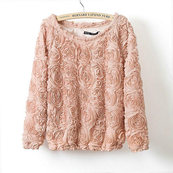 2015 горячая распродажа бренд пуловер женщины 3D цветы свитер трехмерные розы наручные пуловер свитер женщин бесплатная доставка