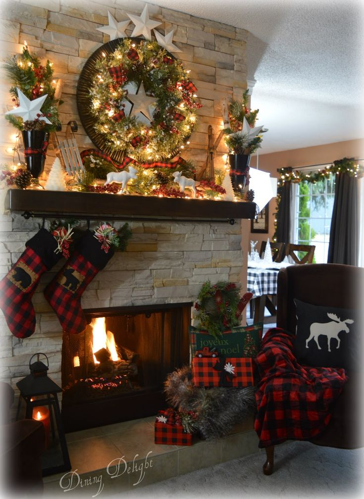 Canadian Cabin Christmas Mantel 6233 best CHRISTMAS