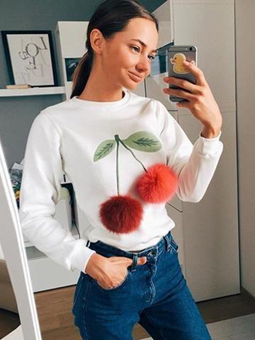 Cherry Plush Ball Sweater - MYNYstyle - 1