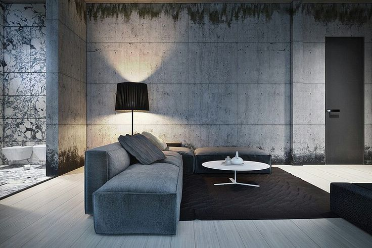 PIN 2: The concrete used in this living room is very different and unique. It has very intense and powerful look to it, and the furniture placed in the room corresponds very well with the pattern, colour and design of the wall.