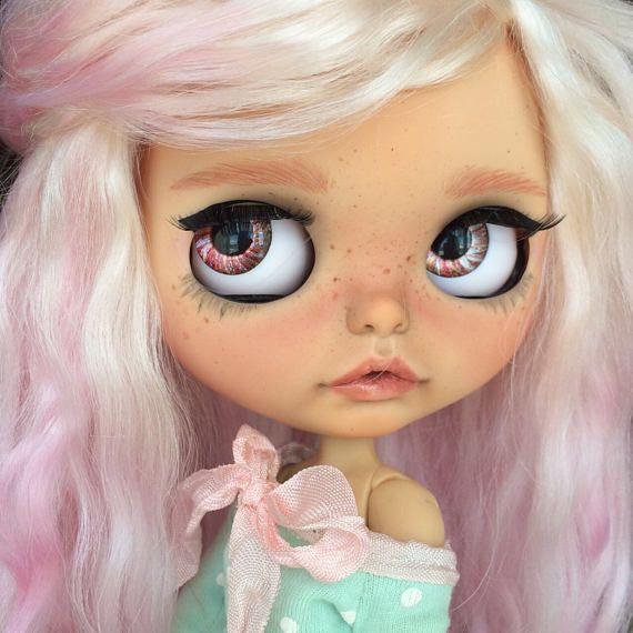 Leiacustom OOAK fake Blythe doll mohér útku dlouhé vlasy