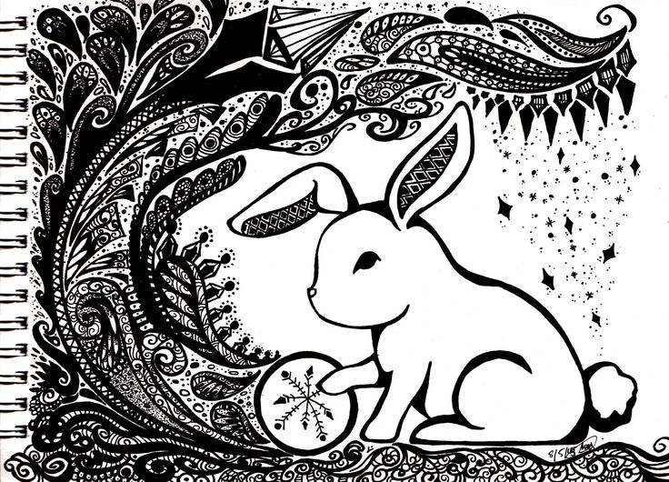 Snow Rabbit. A traditional work. Pen on paper.