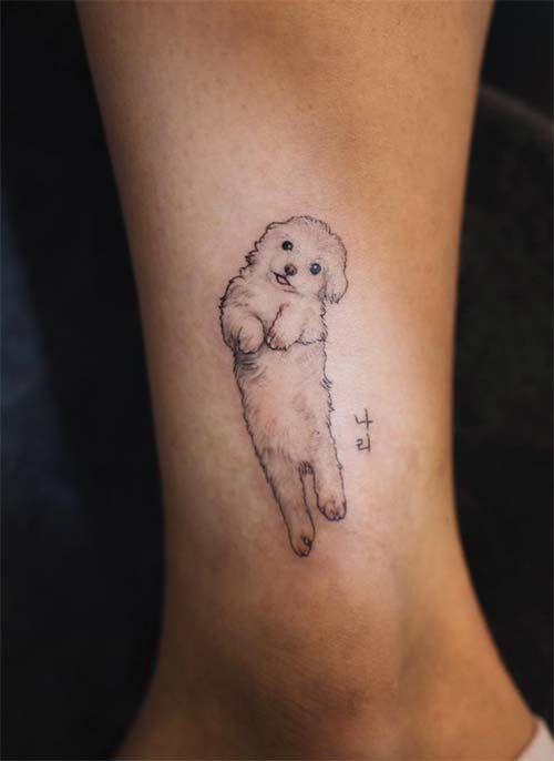 Ankle Tattoos Ideas for Women: Puppy Body Ankle Tattoo