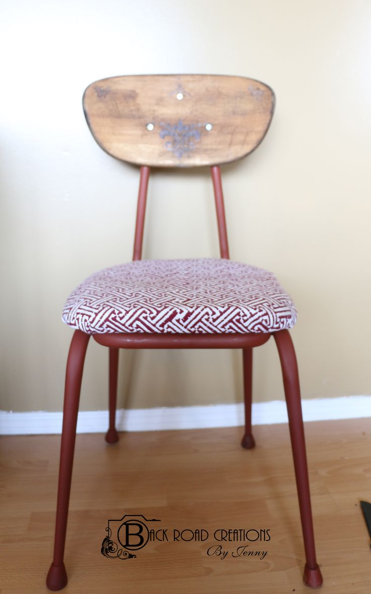 Refinished old School Chair. Covered and padded seat. Pyrographed and stained seat back.  DYI Home Decor https://www.facebook.com/backroadcreationsbyjenny?ref=aymt_homepage_panel
