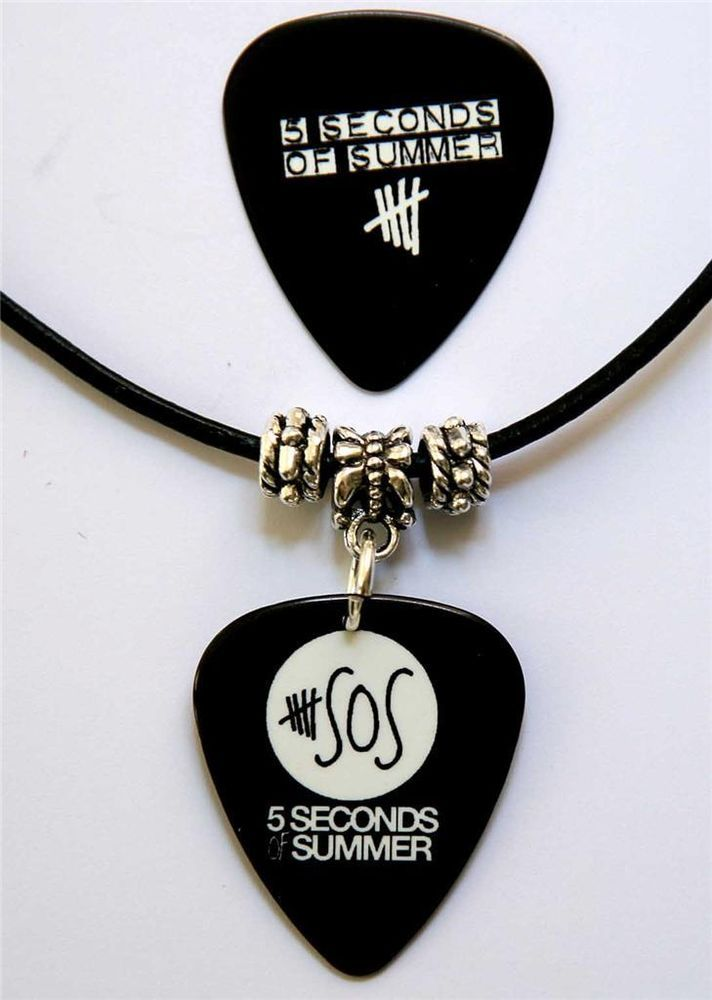 5 Seconds of Summer Guitar Pick Black Leather Two Sided Necklace + Plectrum