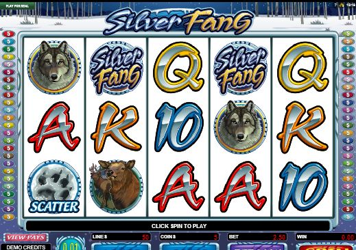 #SilverFang is a five-reel, fifty-line video slot machine that is created by Microgaming. It has features such as a wild, multipliers, scatter wins, gamble option, and a #free spins round.  This slot has a #wolf theme with an arctic setting and it's based loosely on the #WhiteFang story. The reel symbols include the game logo, howling wolf, paw print, elk, wolf, ace, queen, king, ten and jack.