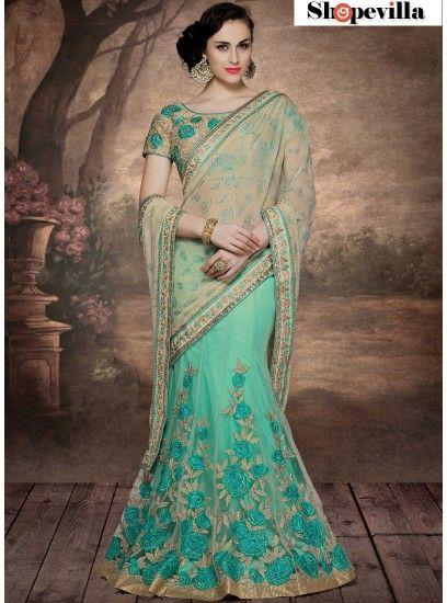 Designer Net & Chiffon Beige & Sea Green Colour Lehenga Saree With Embroidery-4008