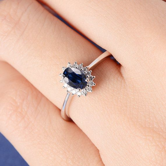 Blue Sapphire Engagement Ring Halo Princess Diana Wedding With