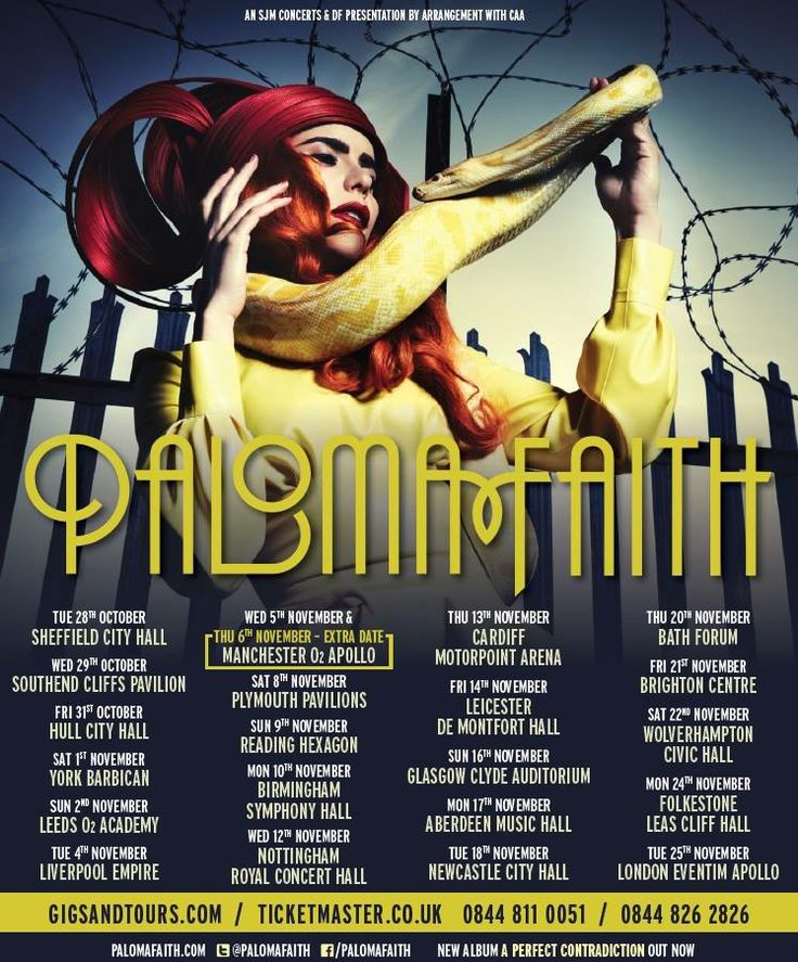 Paloma Faith - A Perfect Contradiction Tour 2014 http://www.gigsandtours.com/tour/paloma-faith