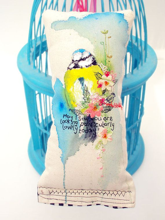 Fibre art. OOAK mixed media. Bird art cushion. Hand painted and embroidered. on Etsy, £33.91