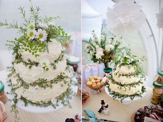 Cake Love: A Rustic Cream Wedding Cake With Herbs And