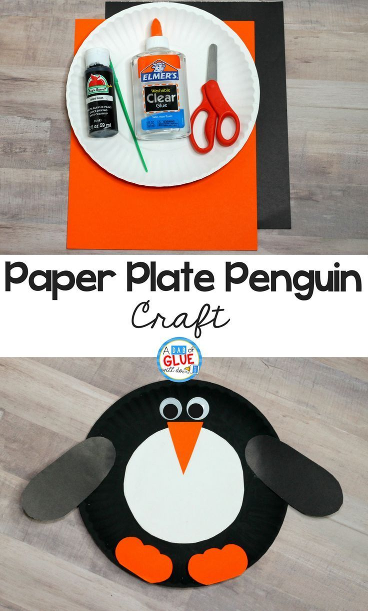 Add this Paper Plate Penguin Craft to your classroom winter crafts! It's perfect for winter habitat unit study or penguin animal study activities too. Your kindergarten and preschool students will love this animal paper plate craft for kids.  via @dabofgluewilldo