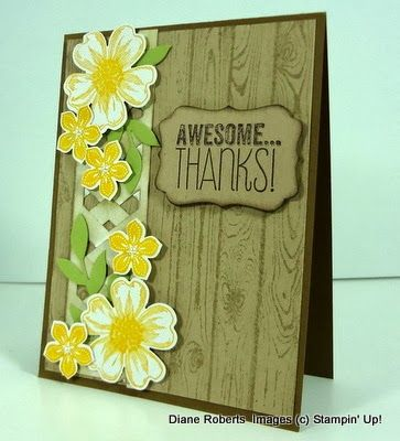 handmade thank you card from Score at Four and a Quarter ... hardwood background stamp ... lattice column from weaving two chevron border punch outs ... cascading punched flowers ...  like it! ...Stampin' Up!