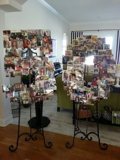 Photo collage 50th birthday party decorations. See more decorations and 50th birthday party ideas at www.one-stop-party-ideas.com