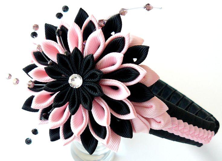 Kanzashi Fabric Flower headband.  Lt. pink and black. by JuLVa, $20.00