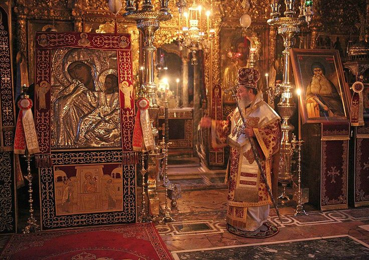 Incense for the icon of Our Lady Theotokos Paramythia during the feast of the icon of Our Lady Theotokos Paramythia at Vatopaidi Monastery, Mount Athos, Greece